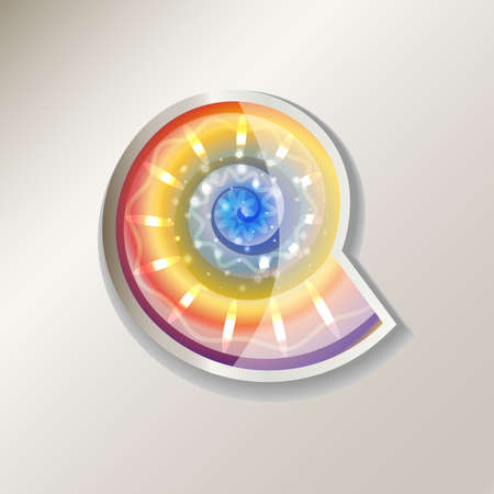 Colorful nautilus sticker icon illustration.
