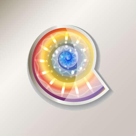 Colorful nautilus sticker icon illustration.