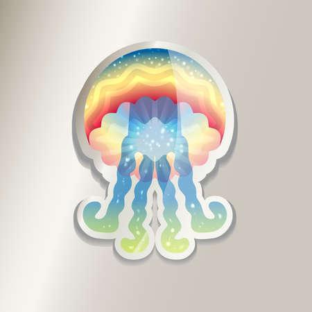 Colorful jellyfish sticker icon illustration.