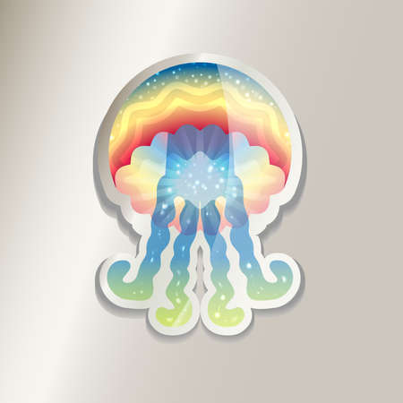Colorful jellyfish sticker icon illustration.
