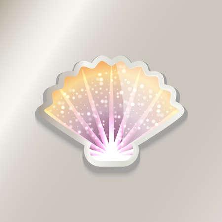 다채로운 셸 스티커 아이콘 그림입니다. 일러스트