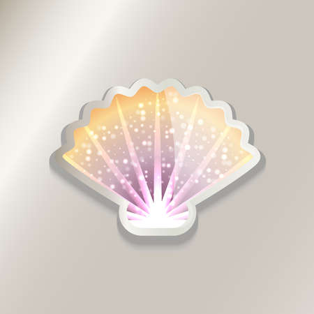 Colorful shell sticker icon illustration.