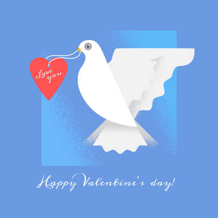 dove with heart. Wedding invitation card with doves. Happy Valentines Day Card Illustration