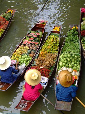 floating market: Floating Market in Bangkok Stock Photo