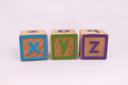 xyz: XYZ wooden blocks Stock Photo