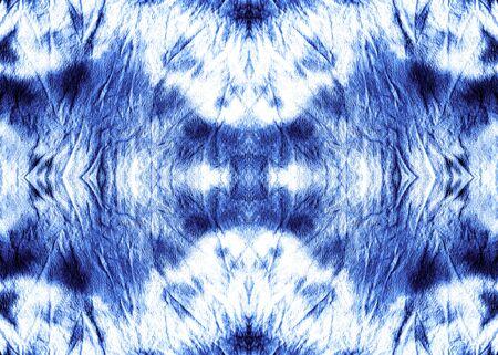 Indigo Ornamental Retro Tie Dye Texture. Blueish Seamless Bleach Dyeing. Sea Blue Aquarelle Background. Nautical Ink Splash Paint. Navy Endless Faded Fabric. Foto de archivo