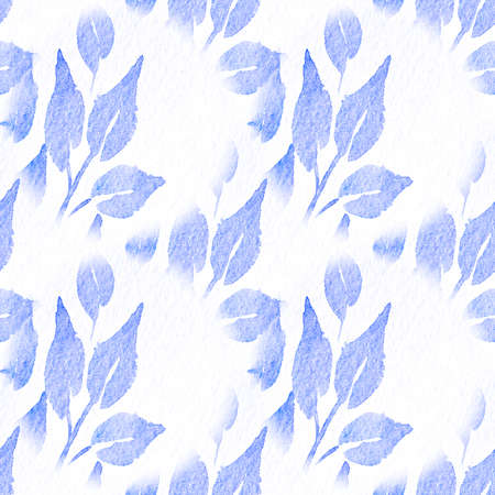 Seamless Natural Vegetal Acrylic Paint. Phantom Blue Ornamental Leafy Watercolor Print. Lavender Repeated Oil On Canvas. Endless Sea Blue Watercolor Splash. Violet Floral Acrylic Painting. Archivio Fotografico