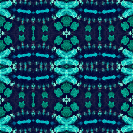 Ornamental Sea Blue Psychedelic Dye Pattern. Sky Blue Turquoise Paint Splash On Cloth. Endless Indigo Mustard Geometrical Repeated Navy Breeze Color Italian Ceramic. Eastern Pattern.