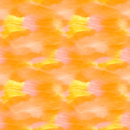 Mustard Ornamental Carrot Bleach Dyeing. Artistic Dirty Painting. Yellow Seamless Orange Paint Splash On Cloth. Sunny Endless Amber Watercolor Print. Stock Photo