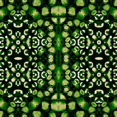 Deep Green Repeated Aztec Ornament. Emerald Green Ornamental Hand drawn Ikat. Brasilian Tiles. Fresh Green Tile Ornament. Seamless Ikat Pattern. Organic Color Organic Template.
