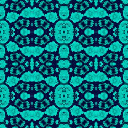 Ornamental Blueish Tie Dye Cloth Texture. Sky Blue Gentle Breeze Hand Painted Spots. Endless Nautical Yellow Geometric Repeated Sea Blue Breeze Color Eastern Tiles. Turkish Carpet. Stock fotó