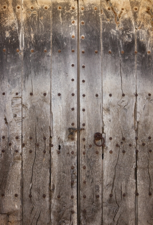 Close-up image of old, ancient wooden door, may used as background