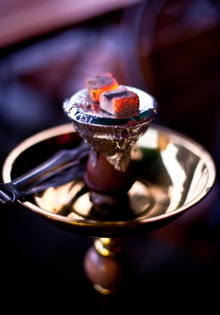 Embers on the hookah,  in the evening. 스톡 콘텐츠