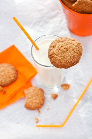 whitem: Oatmeal cookies with glass of milk