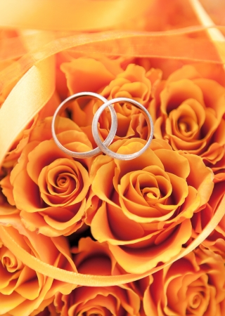 Gold wedding rings on the orange roses and ribbon photo