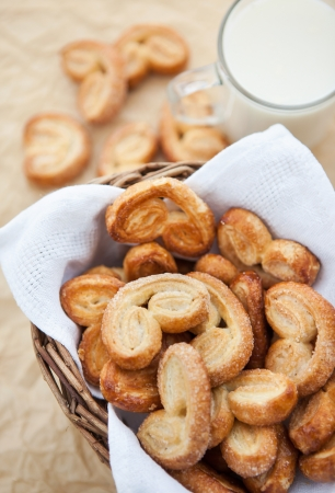 Homemade cookies in a basket and glass of milk photo
