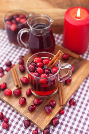Mulled wine with cranberry and cinnamon
