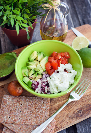 Ingredients for avocado and feta cheese salad  스톡 콘텐츠