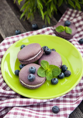Violet french macarons with blueberry and mint on the plate photo
