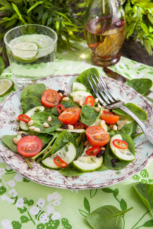 Healthy fresh salad with spinach, tomato, cucumber and pine nuts photo