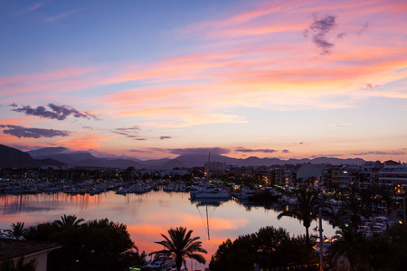 Evening sea views of Alcudia city of Majorca Island photo