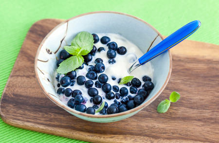 Fresh yogurt with blueberry and mint  for breakfast