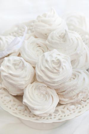 zephyr: Homemade zephyr (russian marshmallows) on white background