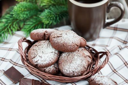 crinkles: Chocolate crinkles cookies on festive background Stock Photo
