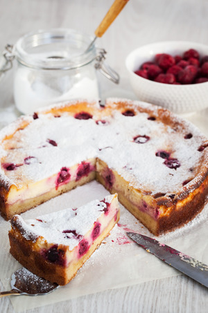 ready to cook food: Homemade cherry creamcheese cake, ready to eat Stock Photo