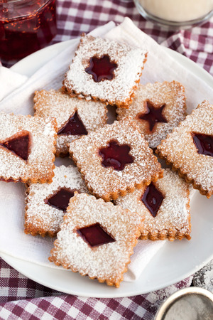 filled: Homemade Linzer cutout jam filled cookies Stock Photo