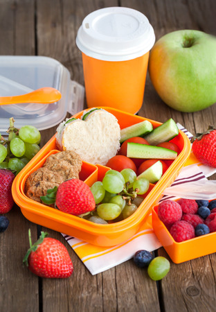 Caja de almuerzo para los niños con sándwich, galletas, verduras y frutas frescas Foto de archivo - 41057292