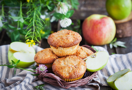yellow apple: Fresh homemade delicious apple muffins for breakfast Stock Photo