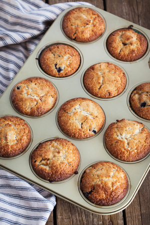 mini oven: Fresh homemade delicious apple muffins for breakfast Stock Photo