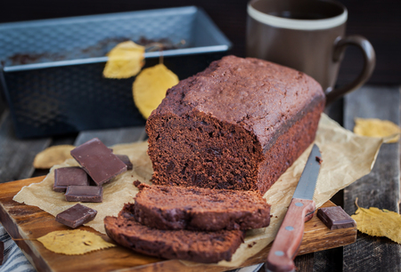 slices of bread: Delicious fresh homemade chocolate banana bread (cake)