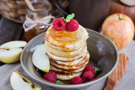 freshly prepared: Stack of freshly prepared apple pancakes for breakfast Stock Photo