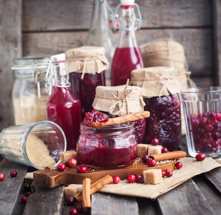 Homemade cranberry jam in a glass jar Banco de Imagens
