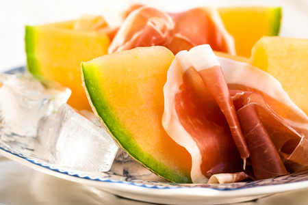 Prosciutto with cantaloupe melon-traditional Italian appetizer