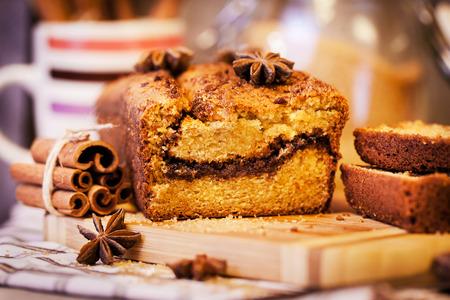 Delicious fresh homemade cinnamon loaf cake