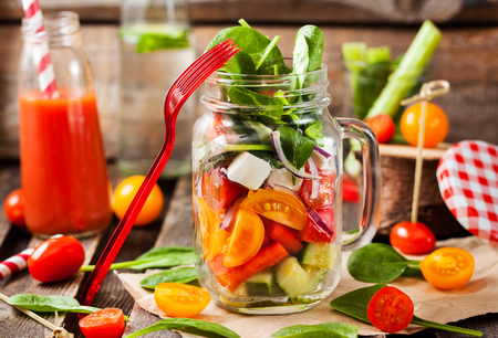 Fresh and healthy homemade vegetable salad in glass mason jar 스톡 콘텐츠