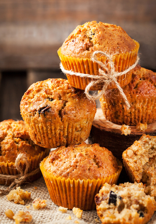 mini oven: Fresh homemade delicious carrot muffins with dried friuts  and nuts Stock Photo