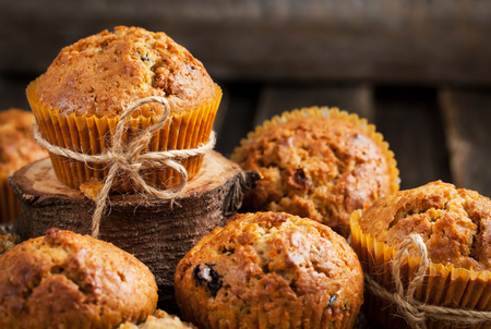 Fresh homemade delicious carrot muffins with dried friuts  and nuts Stock Photo