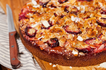Delicious fresh homemade crumble plum cake