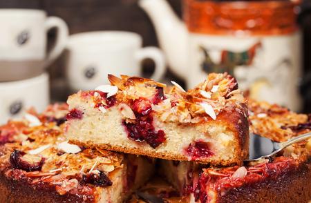 Delicious fresh homemade crumble plum cake