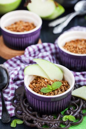 Homemade delicious apple crumble crisp dessert  Stock Photo