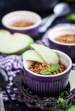 Homemade delicious apple crumble crisp dessert  Stock Photo