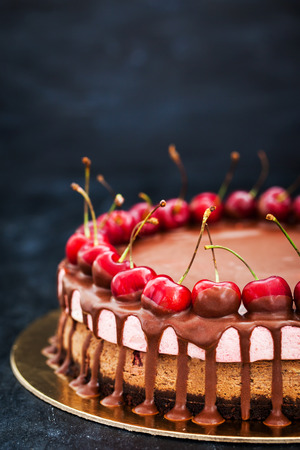 Delicious two layer chocolate and cherry cheesecake dessert decorated with fresh berries on dark