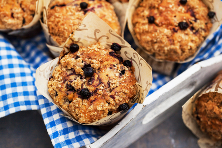 Fresh homemade delicious blueberry streusel muffins