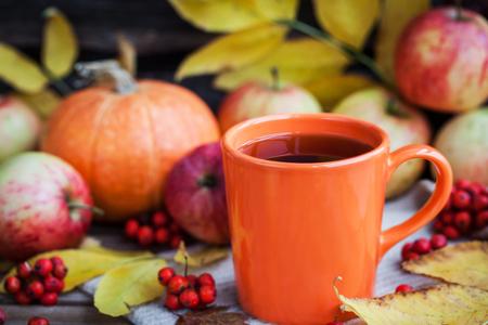 comfort food: Orange mug on autumn background -fall leaves, apples, pumpkin and rowan-berry