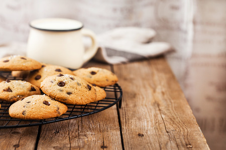 Homemade freshly baked chocolate chips cookies  Stock Photo