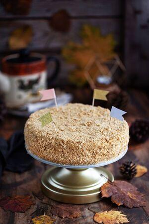 Delicious homemade millefeuille cake (Napoleon) on rustic Banco de Imagens - 133141237